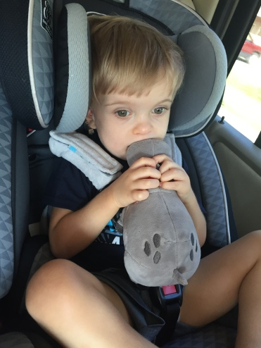Rhett is kissing his hippo and ready to go!
